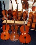different sizes of cellos for the young pupils between 6 and 12
